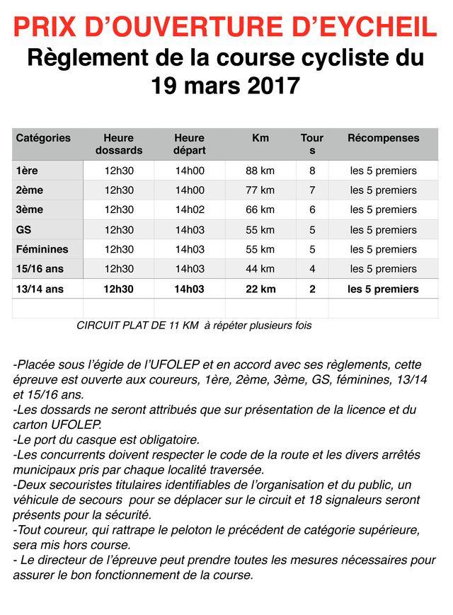 Règlement course d'Eycheil 2017